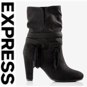 🖤Express Black heel Tassel Slouch Boot🖤